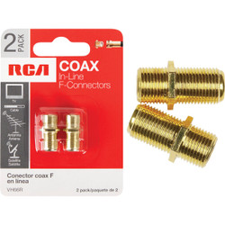 RCA In-Line Feed-Through Coax Connector (2-Pack) VH66R Pack of 6