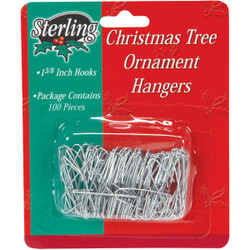 Sterling 1-3/8 In. Silver Christmas Ornament Hooks 1708190 Pack of 72