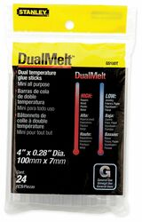 Stanley Hot Melt Glue Stick,Clear,1/4 x 4In,PK24  GS10DT