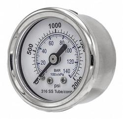 """Pic Gauges Pressure Gauge,Nominal 1-1/2"""" Dial  302D-158O"""