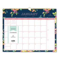 Blue Sky Day Designer Wirebound Wall Calendar, 15 X 12, Navy Floral, 2022 103627