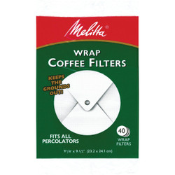 Melitta White Wrap Coffee Filter (40-Pack) 627402 Pack of 12