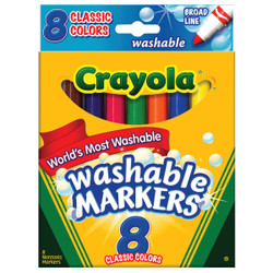 Crayola Assorted Color Broad Line Washable Markers (8-Pack) 58-7808 Pack of 6