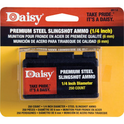 Daisy Premium Steel 1/4 in. Slingshot Ammunition (250-Count) 8114 Pack of 6