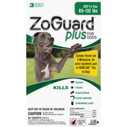 ZoGuard Plus 3-Month Supply Flea & Tick Treatment For Dogs 89 Lb. to 132 Lb. Pack of 12