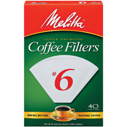 Melitta #6 Cone 8-12 Cup Coffee Filter (40-Pack) 626402 Pack of 12