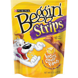 Purina Beggin' Strips Bacon & Cheese Flavor Chewy Dog Treat, 6 Oz. 381116 Pack of 6