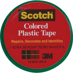 Scotch 1-1/2 In. Green Colored Plastic Tape 191GN Pack of 6