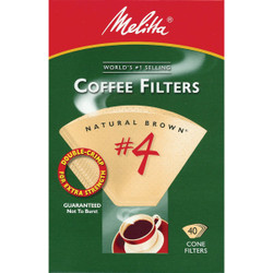 Melitta #4 Cone 8-12 Cup Brown Coffee Filter (40-Pack) 624412 Pack of 24