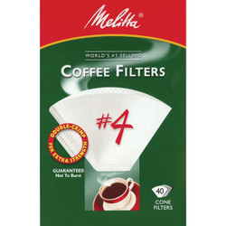 Melitta #4 Cone 8-12 Cup White Coffee Filter (40-Pack) 624404 Pack of 24