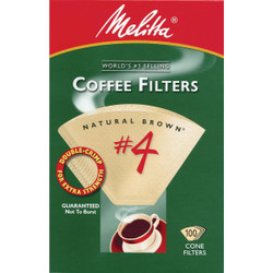 Melitta #4 Cone 8-12 Cup Brown Coffee Filter (100-Pack) 624602 Pack of 12