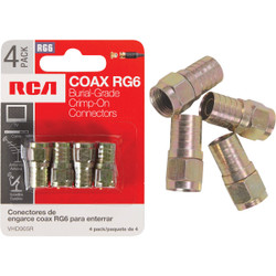 RCA RG6 F-Connector (4-Pack) VHD905R Pack of 6