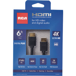 RCA 6 Ft. White 1080P Digital Plus HDMI Cable DH6HHE Pack of 6