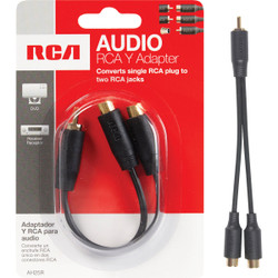 RCA 3 In. Single Male to Double Female Y-Adapter AH25R Pack of 6