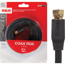 RCA 12 Ft. Black Digital RG6 Coaxial Cable VH612R Pack of 6