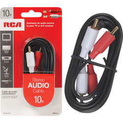 RCA 10 Ft. Black Stereo Audio Cable AH910R Pack of 6