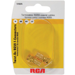 RCA RG59 Coaxial F-Connector (2-Pack) VH60R Pack of 6