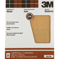 3M Pro-Pak Wood Surfaces 9 In. x 11 In. 220 Grit Very Fine Sandpaper (25-Pack) Pack of 10