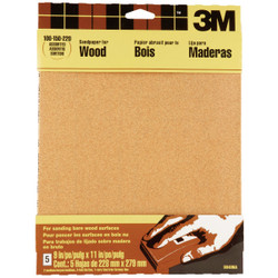 3M Bare Wood 9 In. x 11 In. 220/150/100 Grit Assorted Grade Sandpaper (5-Pack) Pack of 50