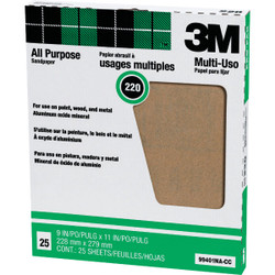3M All-Purpose 9 In. x 11 In. 220 Grit Very Fine Sandpaper (25-Pack) 99401NA Pack of 10