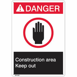 "ANSI Z535 Rigid Plastic ""Danger Construction Area"" Sign, 1/Each"
