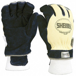 Shelby Firefighters Gloves,M,Cowhide Lthr,PR  5284M