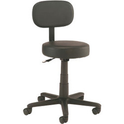 Interion All Purpose Mobile Stool with Backrest, Black