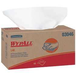 """WypAll* L40 Wipers, Pop-Up Box, 10 13/16"""" x 10"""", White, 9 Boxes/90 Each"""