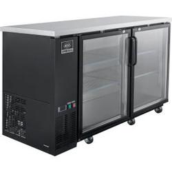 Nexel Back Bar Cooler, 2 Glass Doors, 17.3 Cu. Ft., Black