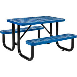 Global Industrial 4 ft. Rectangular Outdoor Steel Picnic Table, Expanded Metal,