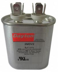 "Dayton Motor Run Capacitor,3  MFD,2 11/16""  H  2MDV2"