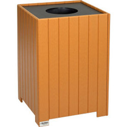 Global Industrial Recycled Plastic Square Trash Can With Liner, 32 Gallon, Cedar