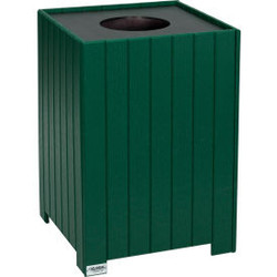 Global Industrial Recycled Plastic Square Trash Can With Liner, 32 Gallon, Green