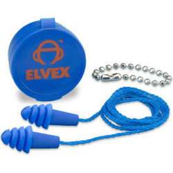 Elvex Quattro Reusable Earplugs With Chain & Case, NRR 27, Corded, 50 Pairs/Box