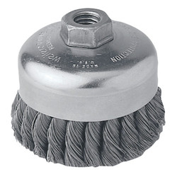 Single Row Heavy-Duty Knot Cup Brush, 4 in Dia., 5/8-11 Unc, .023 Stainless