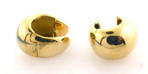 18 karat yellow gold hinger hoops weighing 6.7/10.5
