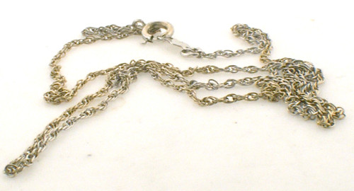 16 inch 14k white gold french rope chain weighing 1.1 grams