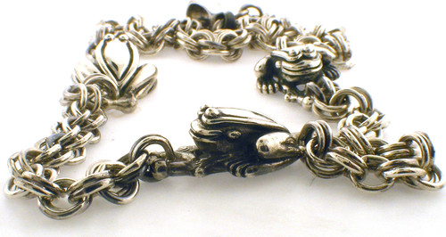 1998 Barry Kieselstein-cord three frog necklace. 18 inch Sterling Silver.