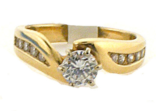 14k yellow gold diamond remount ring weighing 5.1g. finger size 6.5diamond weighs .25ct