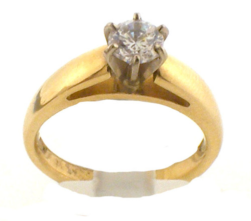 14k yellow gold remount ring with cubic zirconia center.