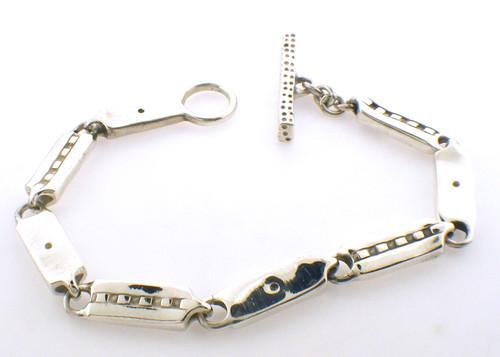 sterling silver lisa jenks link bracelet 6.5 inches weighing 22.8 grams