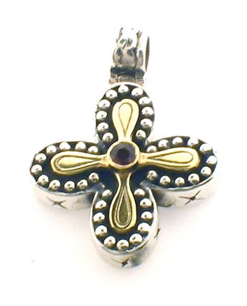 Sterling / 18k yellow gold Konstantino cross necklace weighing 7.2 grams