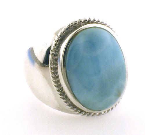 Sterling Silver Larimar ring weighing 14.3 grams. Finger size 6