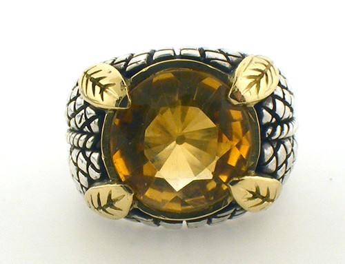 18 karat yellow gold and sterling silver Stephen Dweck ring with citrine. Size 5.50 weighs 11.6 grams