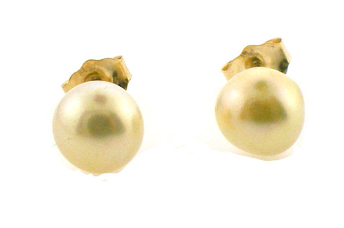 14k yellow gold earrings with 6.5mm pearls