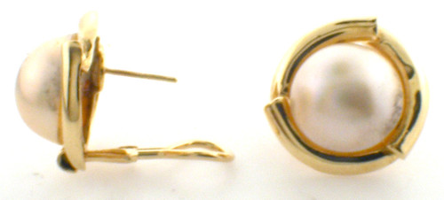 14 karat yellow gold 14 mm mabe pearl earrings with posts and omega clips weighing 12.6 grams