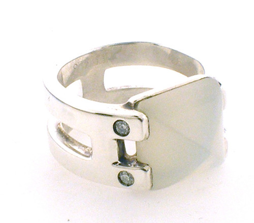 "Sterling Silver ""Hermes""  moonstone and diamond H ring weighing10.0grams. Finger size 6"