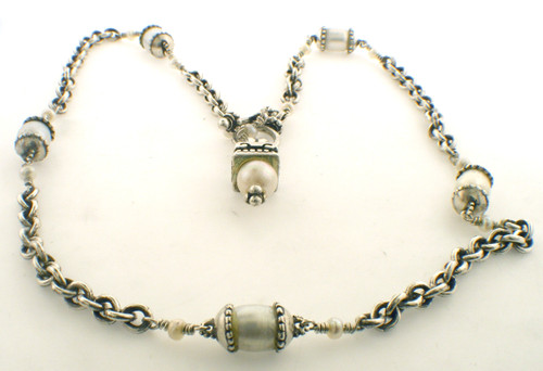 Sterling Silver and pearl 16 inch necklace weighing 22.4 grams