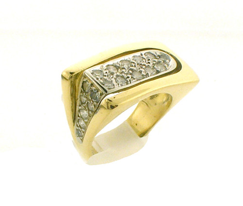 18k gold ring. size 2.75 and weighs 7.5 grams. diamonds weigh .32ct tw