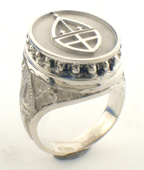 Episcopal Ring made in Sterling silver. Weight in sterling is 18.7 grams.  Custom Logo can be added for an additional $300. Call us for more details  Also available in 14 karat yellow gold. Weight in 14K gold is 24.8 grams